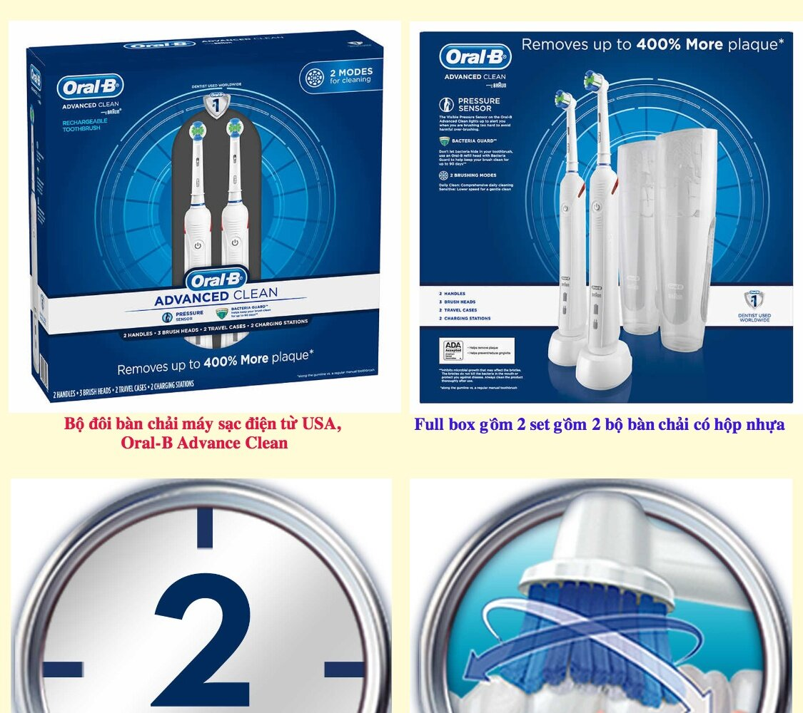 Oral-B Vitality 2 đầu precision clean dùng được cho cả trẻ em và người lớn