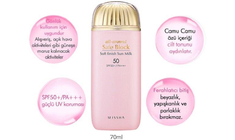 Missha All Around Safe Block Soft Finish Sun Milk SPF50+/PA+++