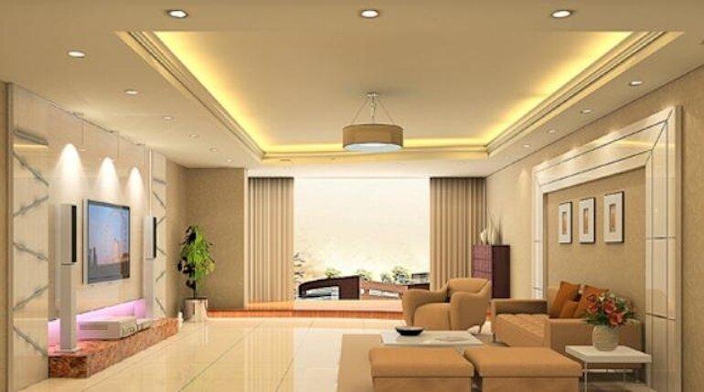 Đèn led âm trần phòng khách hiện đại
