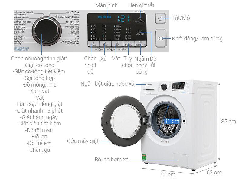 Máy giặt cửa ngang với thiết kế hiện đại, sang trọng