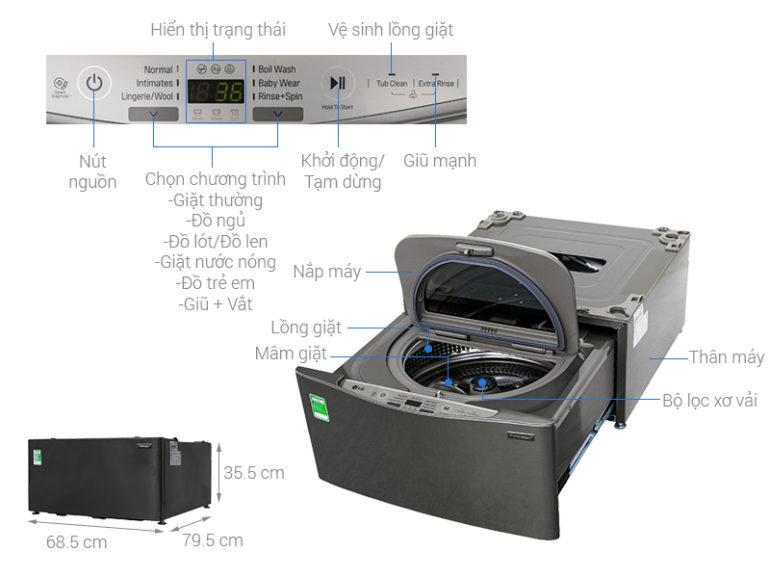 Cấu tạo máy giặt mini LG Twin Wash