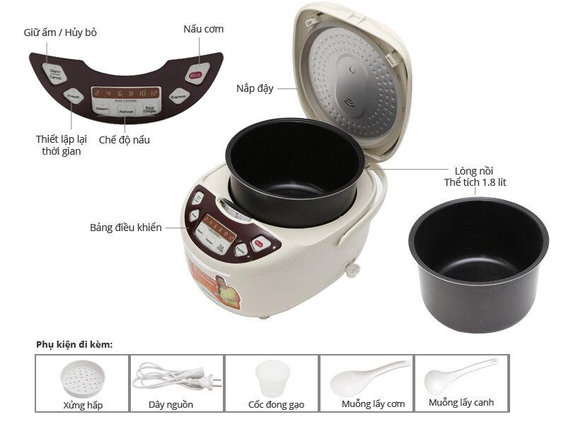 Chi tiết nồi cơm điện tử Supor CFXB50FD11VN-75