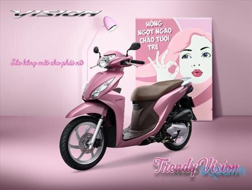 xe máy honda vision màu hồng