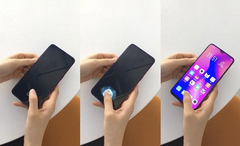 smartphone khóa vân tay nhúng trên màn hình cảm ứng