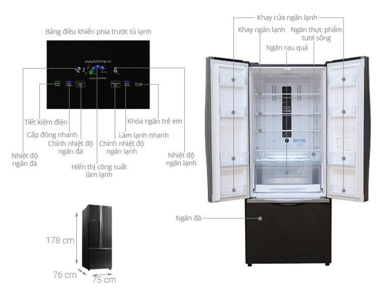 Kích thước tủ lạnh 3 cánh Hitachi R-WB545PGV2 (GBK) 455 Lít