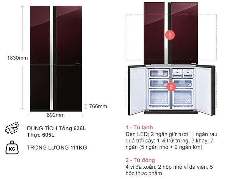 Tủ lạnh Sharp Inverter 605 lít SJ-FX688VG thiết kế hiện đại với 4 cánh cửa tiện lợi
