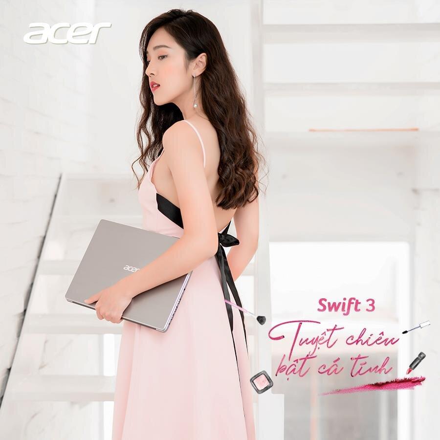 Laptop hãng Acer Swift 3 có thiết kế nhẹ gọn, màu sắc phù hợp cho nữ