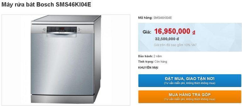 Máy rửa bát Bosch SMS46KI04E giảm sốc giá chỉ còn 16.950.000 vnđ