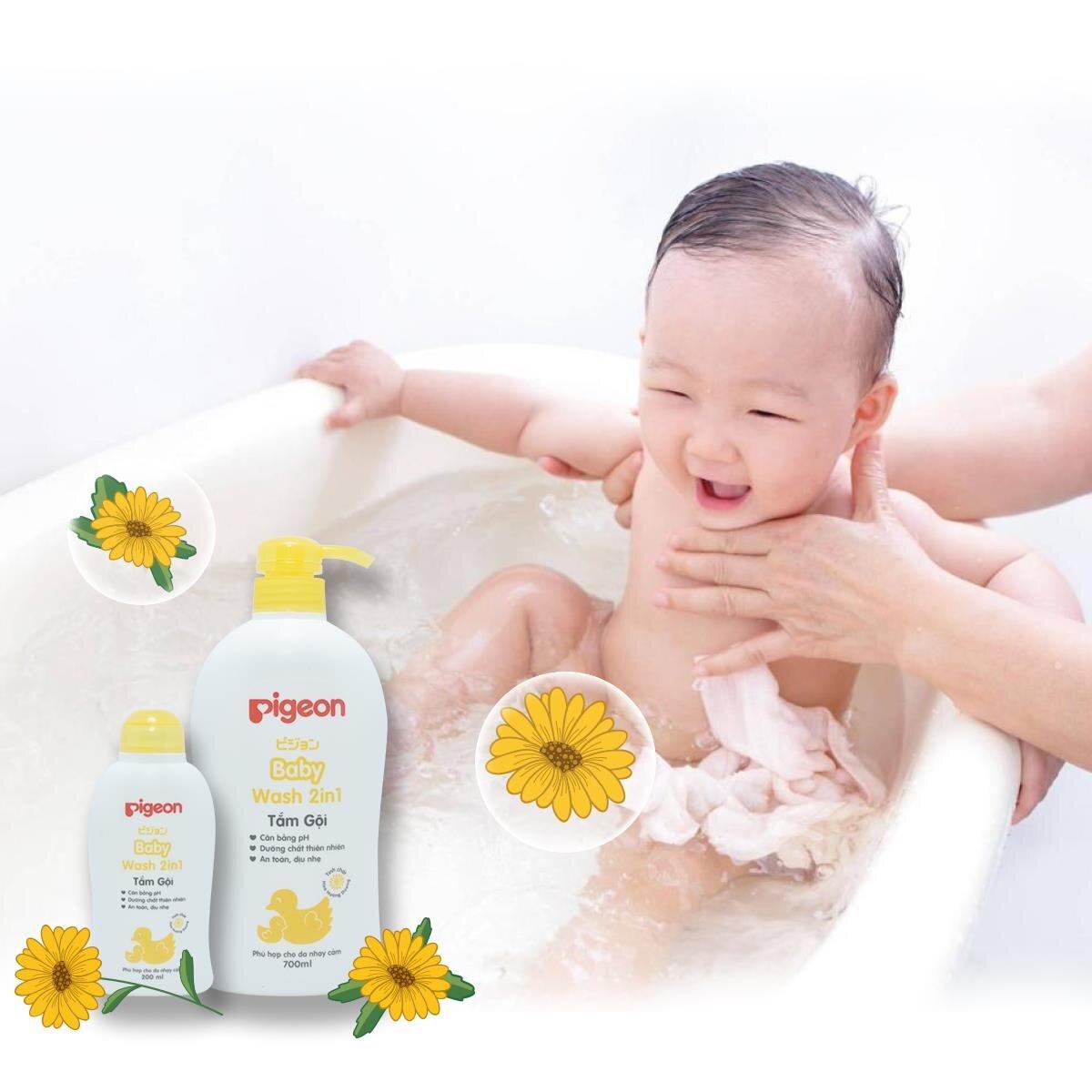Sữa tắm Pigeon 2 in 1 kháng khuẩn, bảo vệ da bé hiệu quả