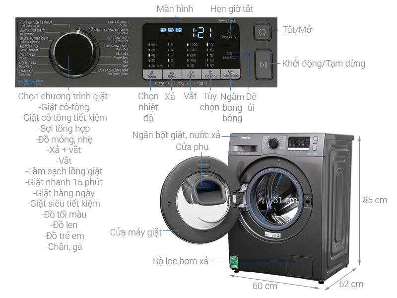 Máy giặt Samsung AddWash 8.5kg WW85K54E0UX