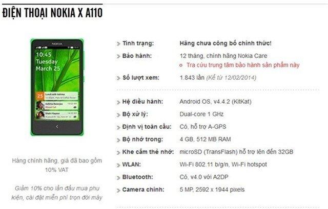 Nokia X chạy Android xuất hiện trên website của một đại lý bán lẻ tại Việt Nam. Ảnh chụp màn hình.