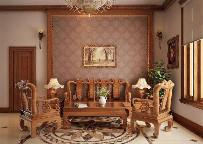 Nội thất phòng khách bằng gỗ giá thành cao