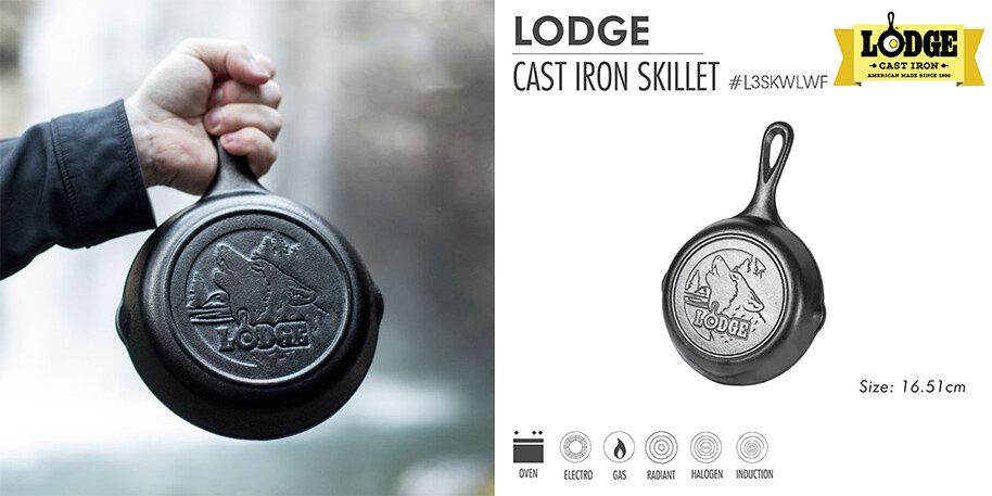 Chảo gang Lodge 16.5cm đáy hình sói có khả năng dẫn nhiệt tốt và giữ nhiệt lâu