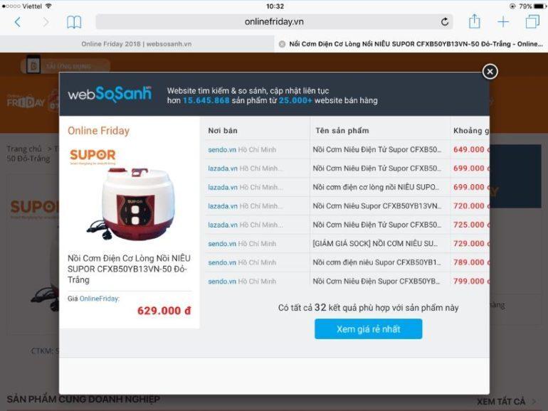nồi cơm điện cơ lòng nồi niêu Supor CFXB50YB13VN-50 đỏ trắng đang sale 47% giá chỉ còn 629.000 vnđ