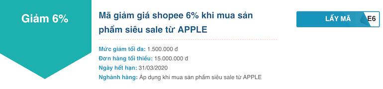 Giảm giá 6% khi mua sản phẩm siêu sale từ APPLE