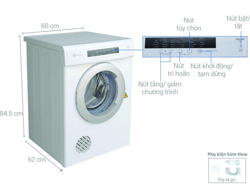 Máy sấy quần áo Electrolux EDV7552 trợ thủ đắc lực lo quần áo khô ráo dù trong điều kiện thời tiết ra sao cho cả gia đình