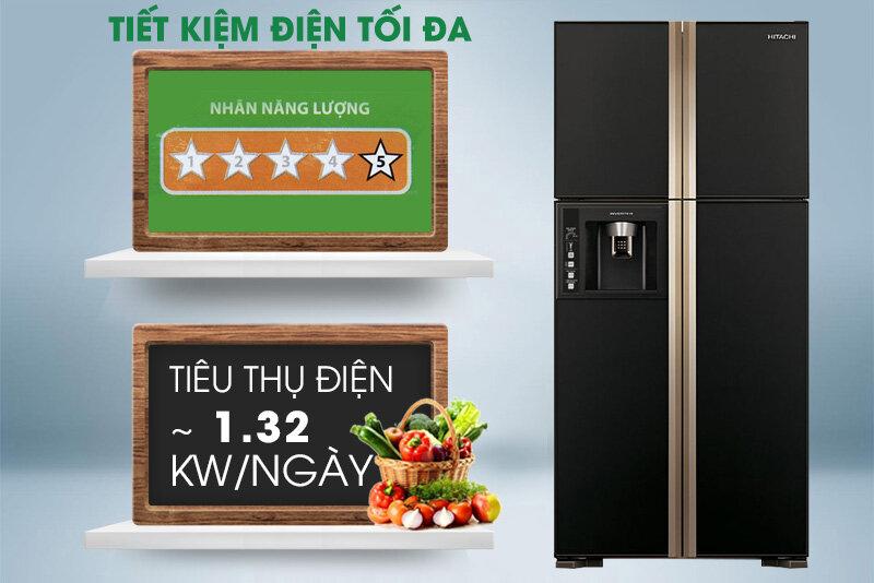 Hitachi R-W660FPGV3X GBK tiết kiệm điện tối đa