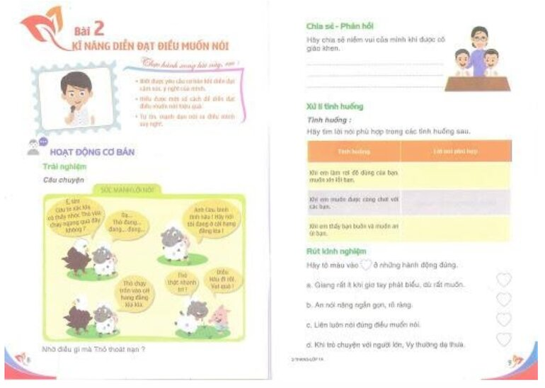 Sách kỹ năng sống lớp 1 đi kèm thực hành tình huống