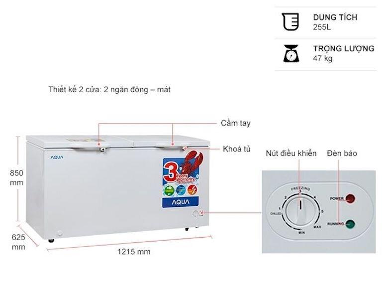 Tủ đông mát Aqua AQF-R390