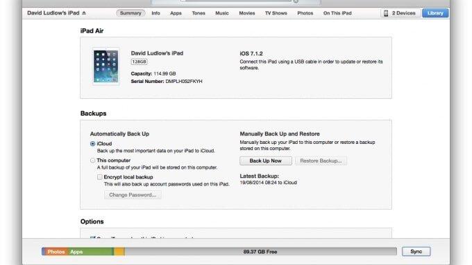 iTunes sẽ cho bạn biết đời iPad bạn đang dùng là đời bao nhiêu