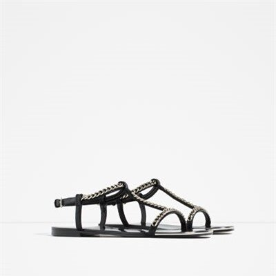 Image 2 of FLAT SANDALS WITH CHAIN DETAIL from Zara