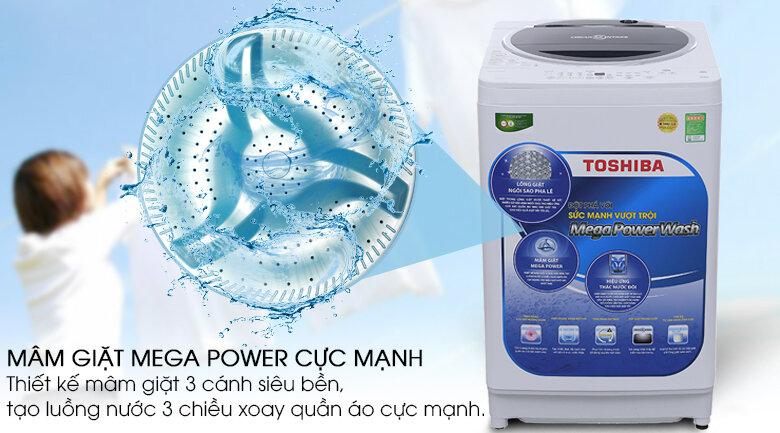 Toshiba có công nghệ giặt Mega Power đem lại chất lượng giặt rất cao