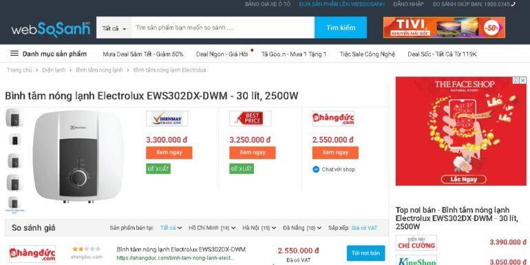 Bình tắm nóng lạnh Electrolux 30 lít EWS302DX-DWM