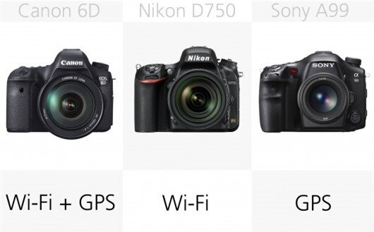 The Canon 6D and the Nikon D750 feature built-in Wi-Fi