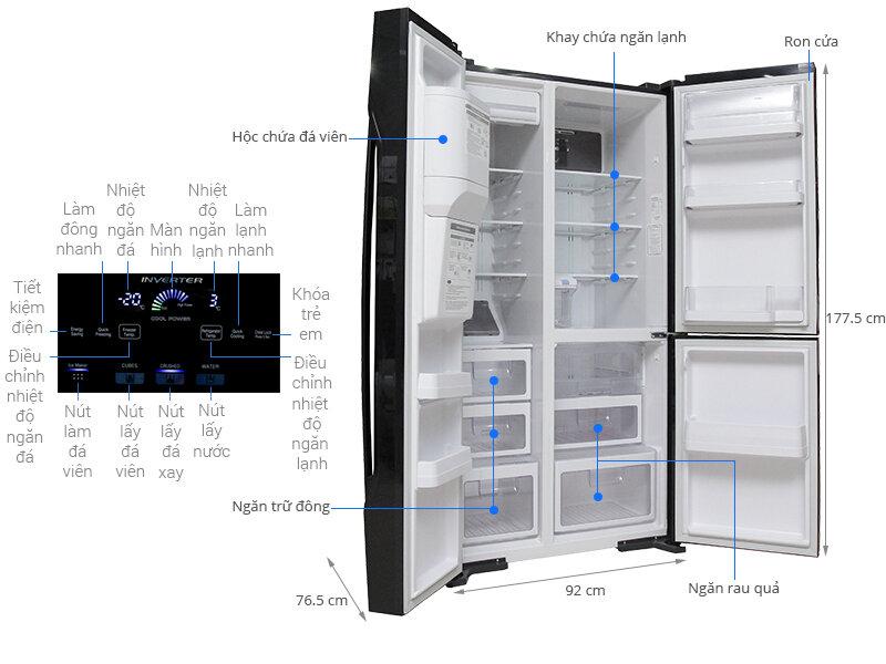 Bảng điều khiển cảm ứng của tủ lạnh Hitachi 3 cánh R-M700GPGV2