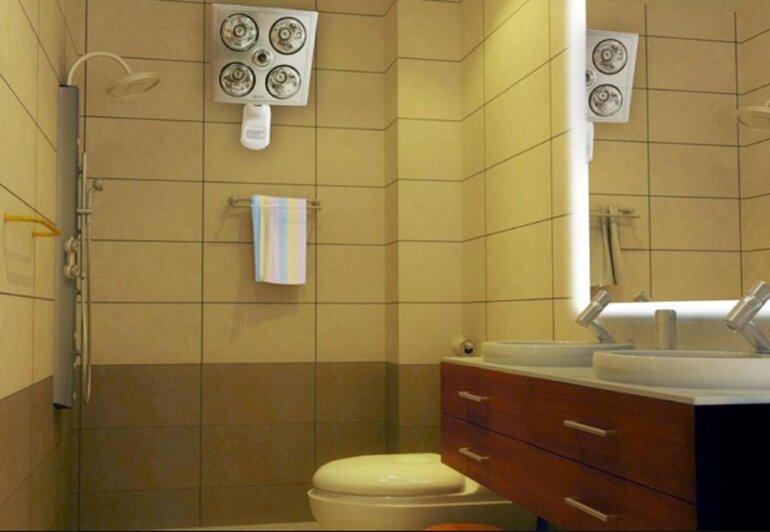 Đèn sưởi nhà tắm treo tường 4 bóng khiến phòng tắm hiện đại hơn