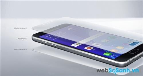Vẫn sử dụng thiết kế nguyên khối, nhưng Galaxy A5 2016 là sự kết hợp giữa kính cường lực và khung kim loại liền mạch