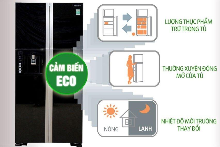 Tủ lạnh side by side Hitachi nano sở hữu công nghệ Eco thông minh