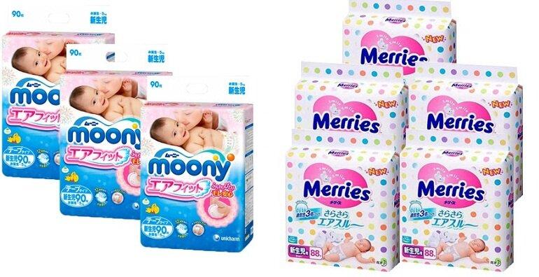 Bỉm Moony và Merries đều có nguồn gốc từ Nhật