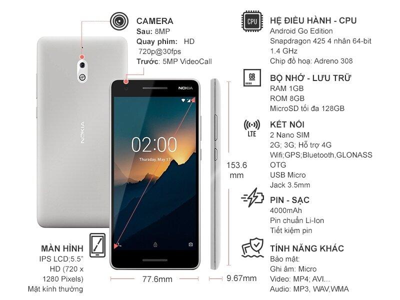 Nokia 2.1 bền với thiết kế gọn ghẽ