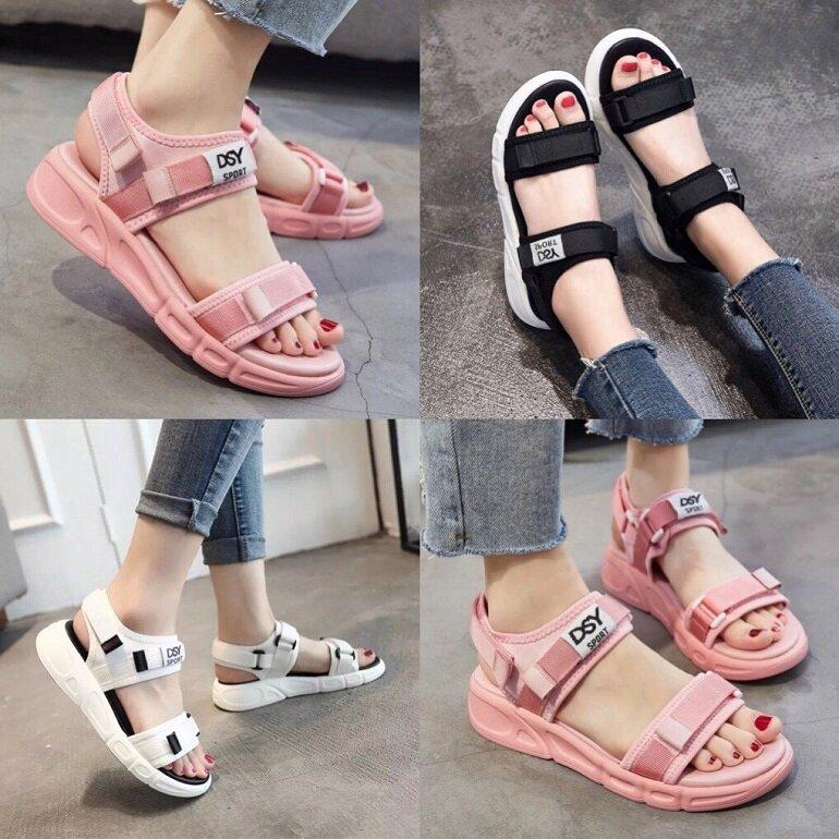 Giày sandal nữ quai ngang đế bệt với nhiều màu sắc