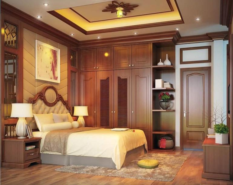 Nội thất phòng ngủ gỗ tự nhiên có tính thẩm mỹ