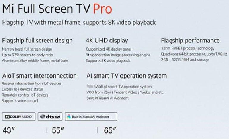Cùng là tivi 4K nhưng Mi TV Pro có thể hỗ trợ độ phân giải lên tới 8K