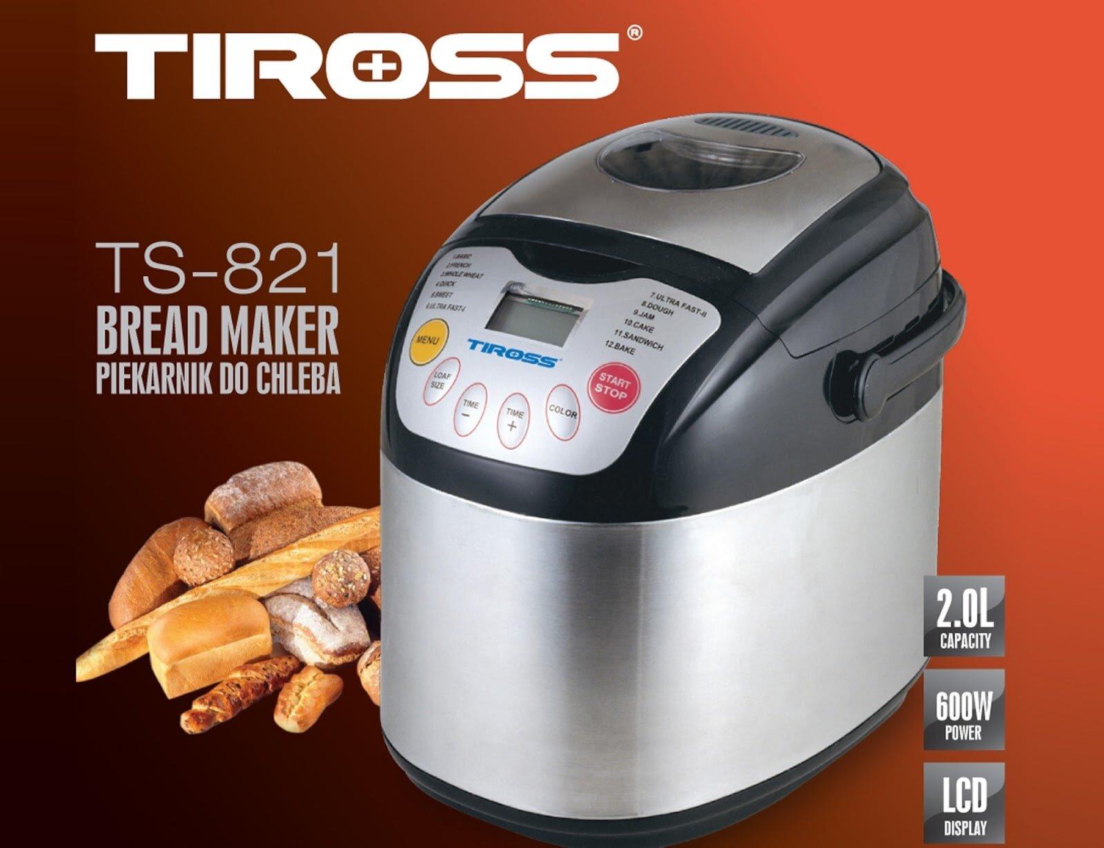 Máy làm bánh mì Tiross với nhiều chức năng đa dạng.