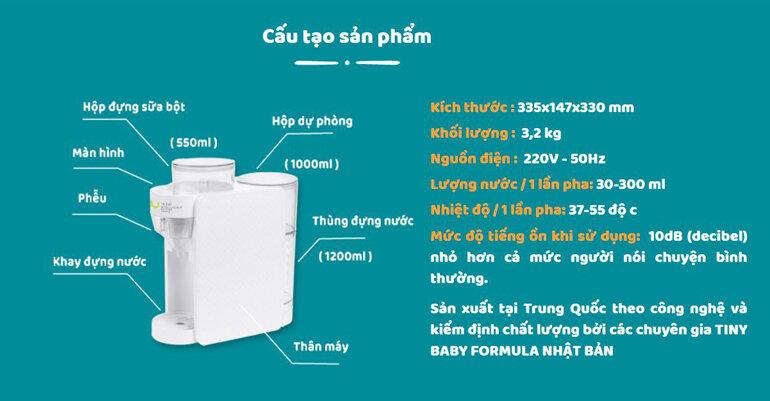 Cấu tạo máy pha sữa Tiny