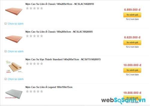 Websosanh.vn là nơi giúp bạn mua được nệm cao su giá rẻ nhất, chất lượng nhật