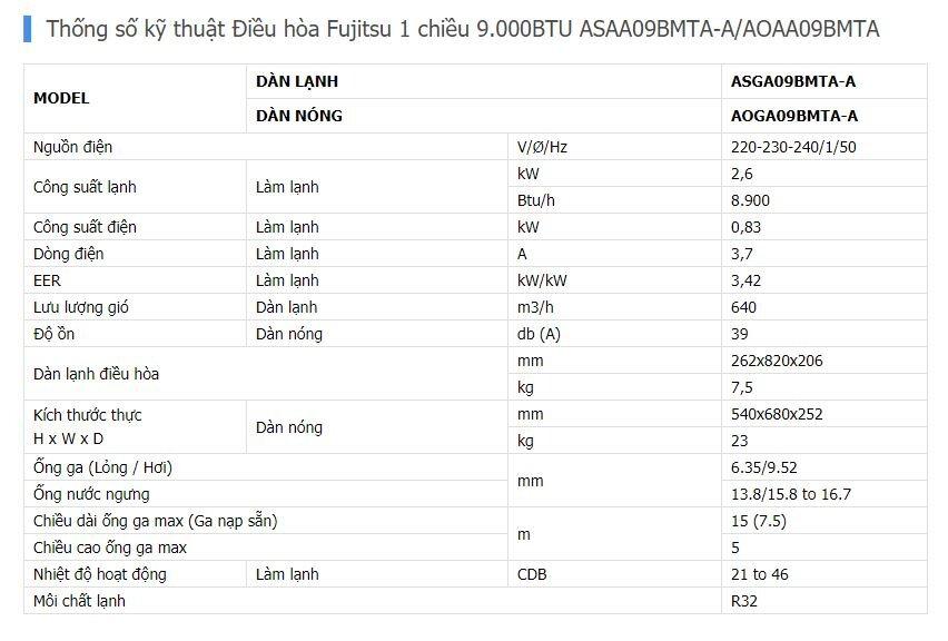 Thông số điều hòa Fujitsu ASAA09BMTA-A