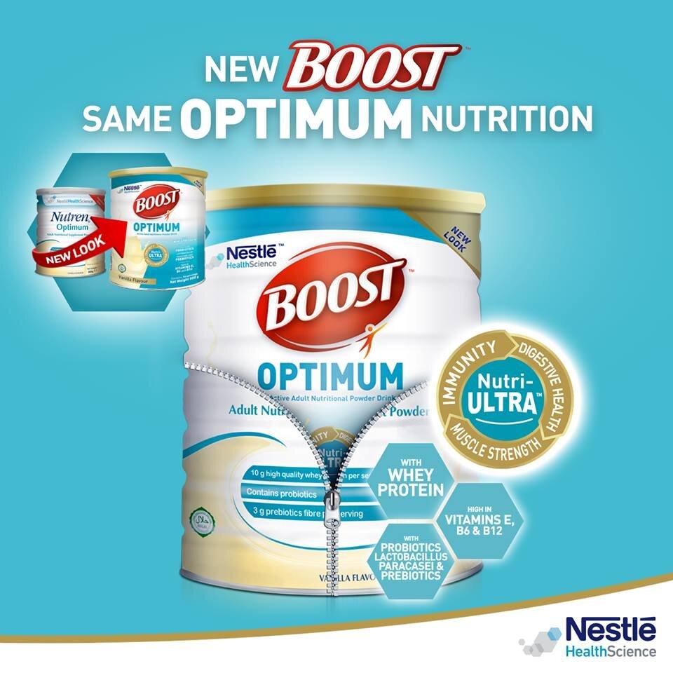 Sữa bột Nestlé Boost Optimum với công thức dinh dưỡng vượt trội