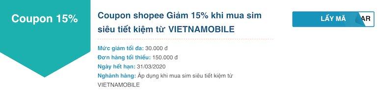 Shopee Giảm 15% khi mua sim siêu tiết kiệm từ VIETNAMOBILE