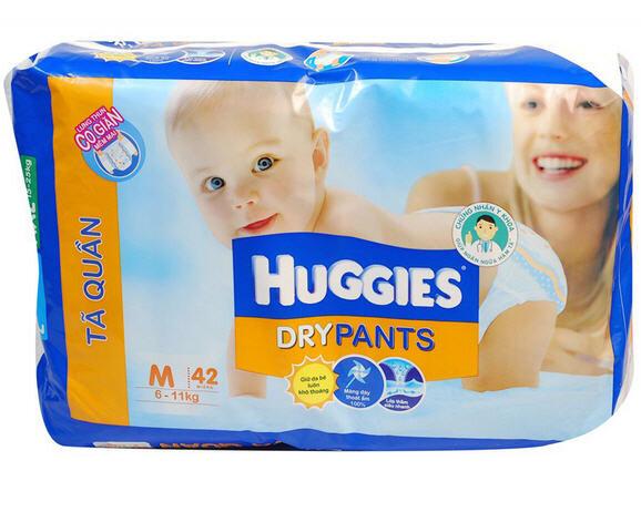 Huggies Dry Pants Jumbo M42 được sản xuất với chất liệu tốt và an toàn.