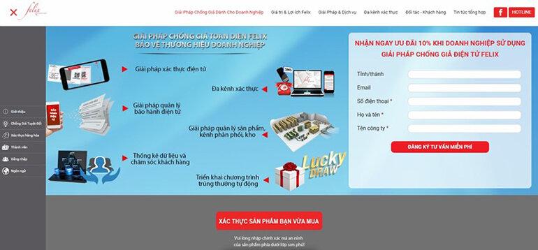 Khách hàng có thể xác thực màng lọc chính hãng qua website Felixvn.com