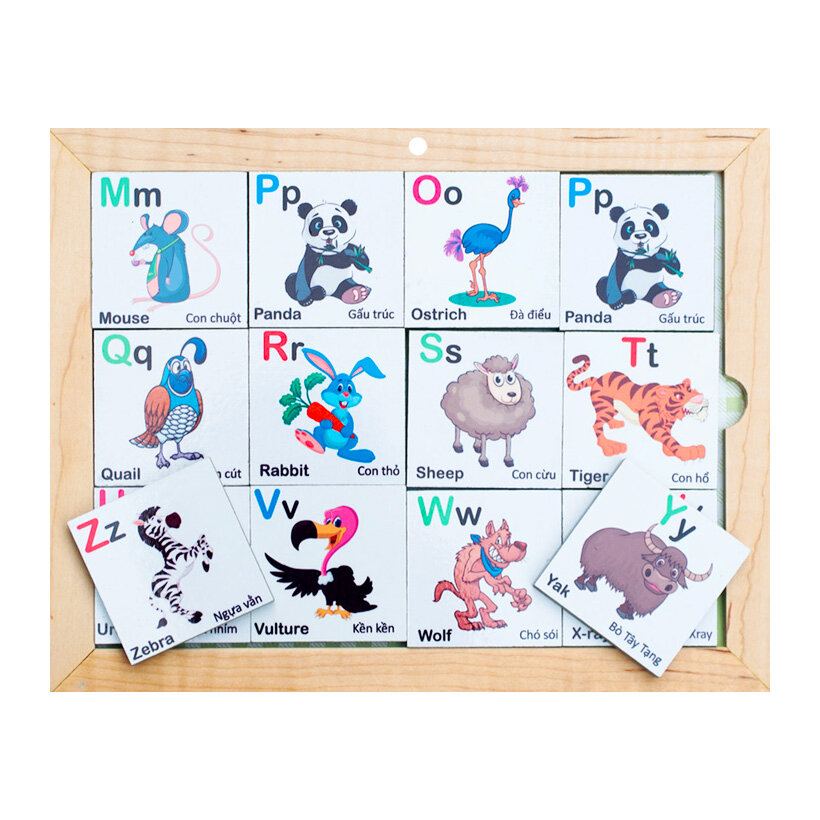Bộ Alphabet động vật 2 mặt Poomko.