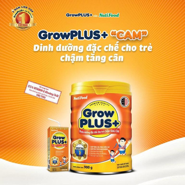 Sữa Grow Plus màu cam phù hợp với trẻ chậm tăng cân (Nguồn: suabottot.com)