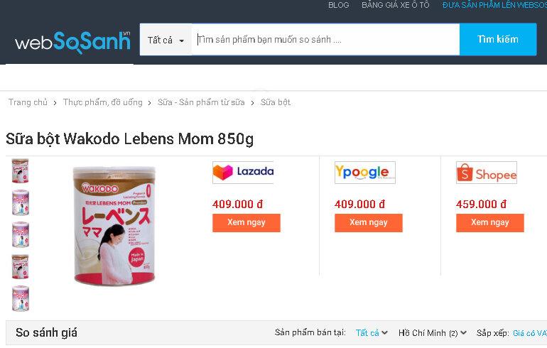 Giá sữa Wakodo Mom bao nhiêu tiền