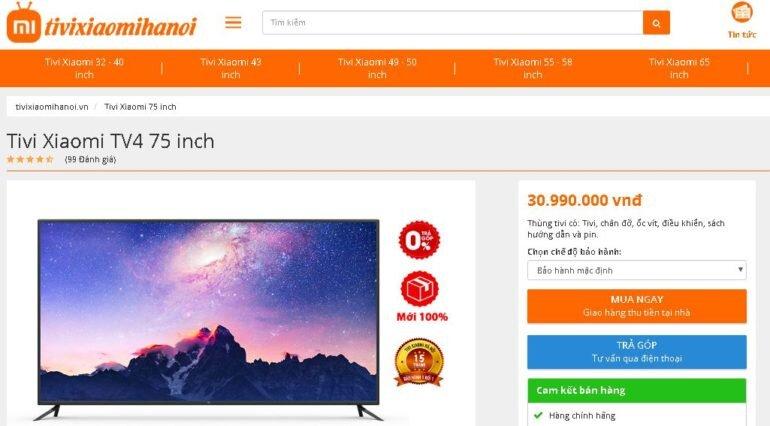 Giá Mi TV ở Tivi Xiaomi Hà Nội bao nhiêu tiền ?