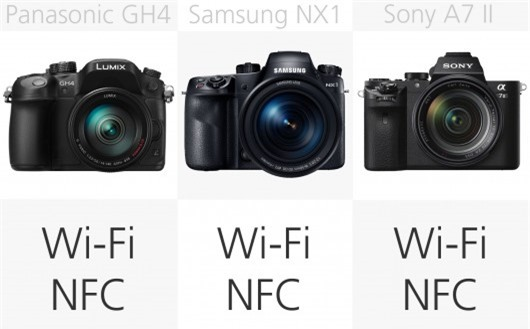 High-end mirrorless camera wireless comparison (row 2)